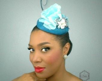 Teal Pillbox Hat, Vintage Inspired Hat, Light Blue Hat, Silk Flower Hat, Sinamay Pillbox, Easter Hat, Wedding Headpiece, Retro hat