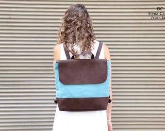 Blue Leather Backpack, BLUE BACKPACK, Fabric backpack, Canvas Rucksack, Work backpack, Boho backpack