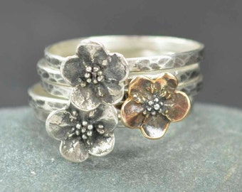 Sterling Flower Rings, Forget Me Not, Bronze, Sterling Silver, Metalsmith Jewelry