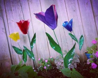 Metal Flower Garden Stake,  Tulip Flower Garden Art,  Metal Garden Decor,  Yard Decoration