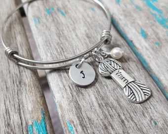 Yarn Bangle Bracelet- Adjustable Bangle Bracelet with Hand-Stamped Initial, Yarn Charm, and an accent bead of choice