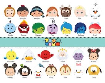 DISNEY TSUM TSUM. 65 Images at 300dpi Resolution Digital Clipart. Disney Tsum Tsum Birthday Party. Party Supplies.