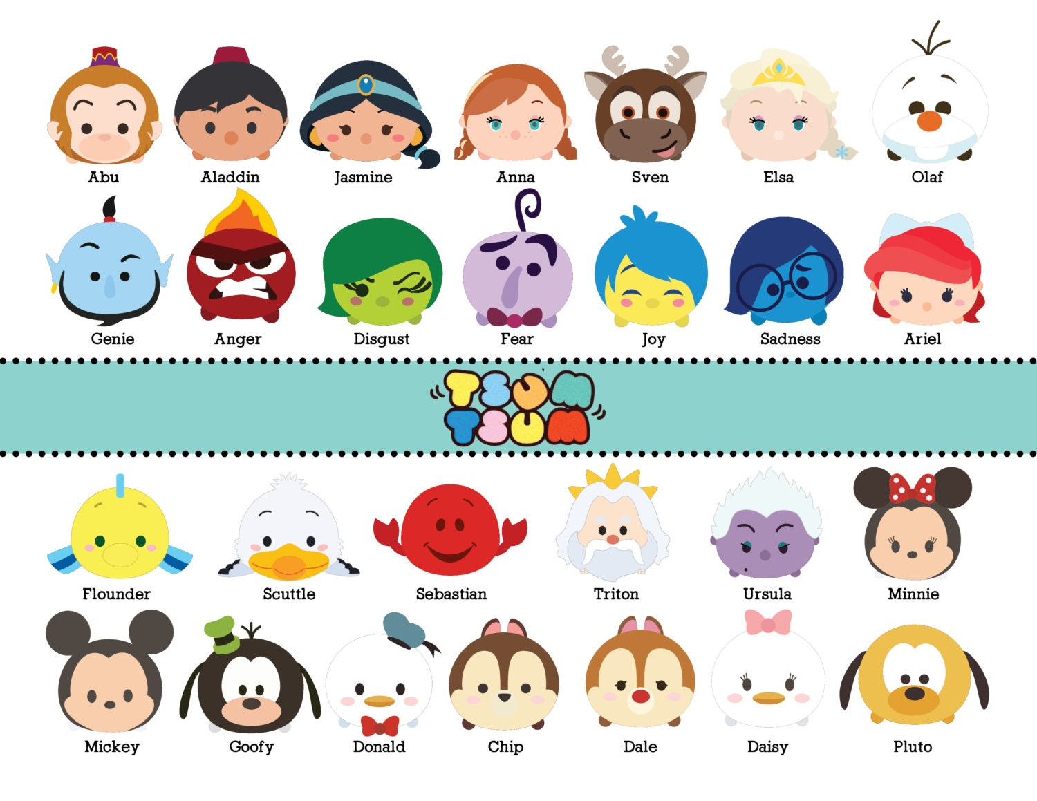 It's just a picture of Vibrant Tsum Tsum Characters Names