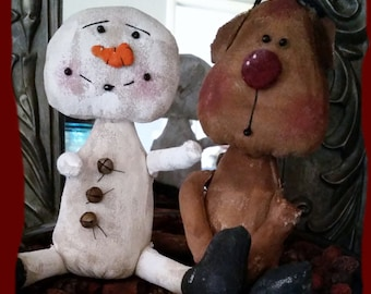 Primitive Rudy Reindeer and Sammie Snowman Stubby Doll/ E-Patterns Digital Download/ Primitive Snowman Pattern/ Primitive Reindeer Pattern