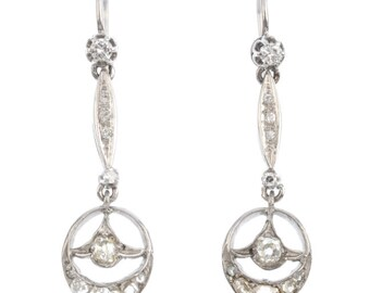 A Pair of Platinum and Diamond, Rose Cut, Early 20th Century Earrings