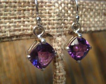 Amethyst Earrings on Sterling Silver Hooks