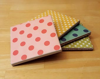 Coasters, Circles, Bubbles, Dots, Round, Hand, Painted, White, Blue, Green, Yellow, Pink, Big, Little, 4x4