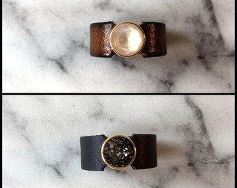 Wide leather ring