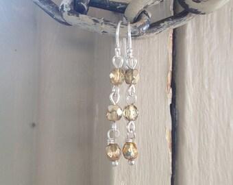 Gold Sterling Ohrringe, Gold Ohrringe / Gold tschechischen Sterling Silber Ohrringe