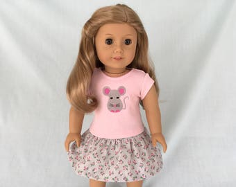 Little Mouse T-Shirt and Pink and Gray Flowered Skirt for American Girl/18 Inch Doll
