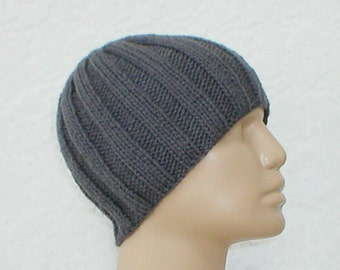 Charcoal gray beanie hat, skull cap, knit hat, toque, gray hat, ribbed beanie hat, mens womens knit hat, beanie hat, mens gray knit hat