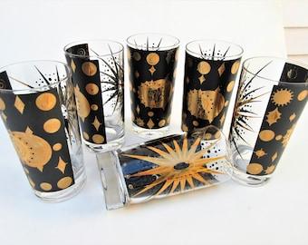 Vintage Black Gold Glasses | Fred Press Glasses | Celestial Glasses | Atomic Barware | Mid Century Bar Set | Starburst Glasses | Set of 6
