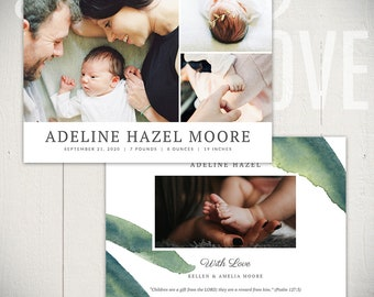 Birth Announcement Template: Bloom Card C - 5x7 Card Template Baby Boy or Baby Girl