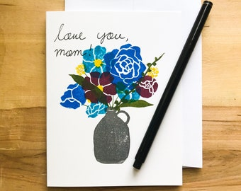 Blue Mother's Day Bouquet Handmade Greeting Card