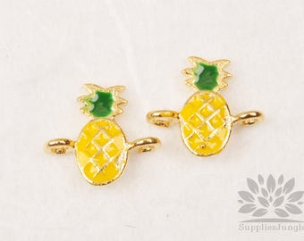 P874-02-G// Gold Plated Epoxy Tiny Pineapple Connector, 2pcs