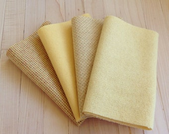 """Hand Dyed Felted Wool, DUCKLING, Four 6.5"""" x 16"""" pieces in Soft Butter Yellow, Perfect for Rug Hooking, Applique' and Crafting"""