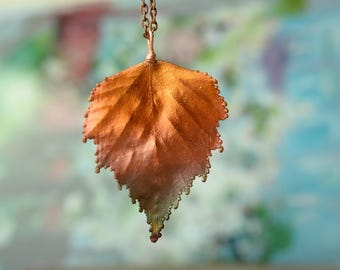 awesome necklace, copper electroplating leaf pendant unique gift for girlfriend botanical jewelry metal