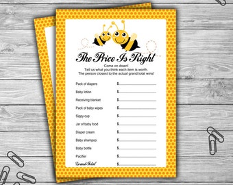 Bumble Bee - Baby Shower - Price Is Right - Game - Cards - PRINTABLE - INSTANT DOWNLOAD - Bee Baby Shower Game - 070
