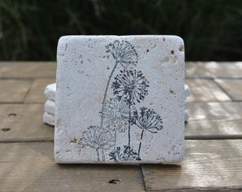 Wildflower Natural Stone Coasters. Set of 4. Housewarming, Hostess, Home Decor.