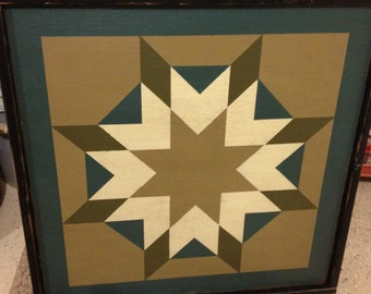 PriMiTiVe Hand-Painted Barn Quilt, Small Frame 2' x 2' - Harvest Star Pattern (Khaki and Blue Version)