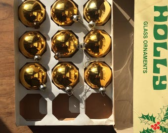 set of vintage brass-gold christmas bulbs (9 count)