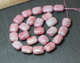 Pink Chiclet Beads Light Pink Gemstone Rectangle Pillow Beads