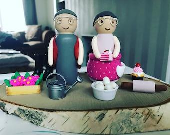 Personalised couple peg dolls