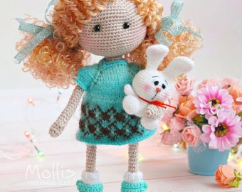 Crochet doll in light blue dress Organic baby doll Gift for daughter Art doll Baby Shower Gift Birthday gift for girl Amigurumi custom doll