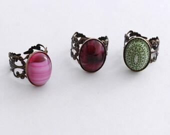 Adjustable Filigree Rings with Vintage Stones, Pink Ring, Red Ring, Green Ring, Adjustable Band, Vintage Glass Jewelry, JewelryFineAndDandy