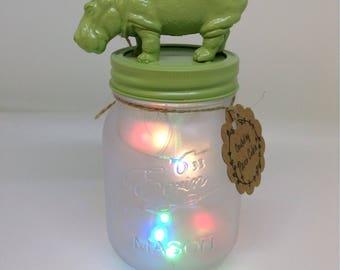 Hippo Mason Jar night light, baby room