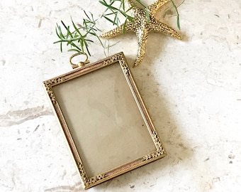 Vintage Ornate Brass Frame with Curved Glass