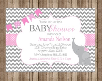 BABY SHOWER INVITATION/ / Baby Girl Chevron  Pink and Gray Polka Dot / Personalized Printable Digital File / Baby Elephant Jungle Zoo Cute