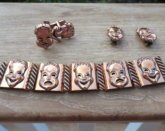 Vintage Matisse Renoir Comedy Tragedy Copper Jewelry Set