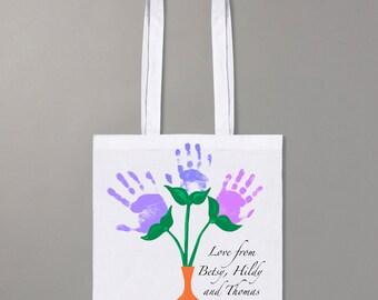 Handprint flowers shopper bag