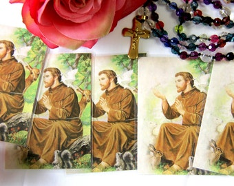 Saint Francis of Assisi Images, St Francis Wallet Size Pictures, Religious Gift, Catholic Saint, St Francis of Assisi, Set of 5