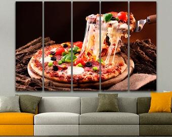Pizza art prints Restaurant decor Pizza print Food wall art Pizzeria wall decor Pizza gift Restaurant art Pizza poster Pizza canvas Wall art