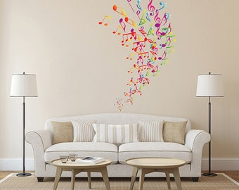 kcik289 Full Color Wall decal treble clef music notes bedroom living room