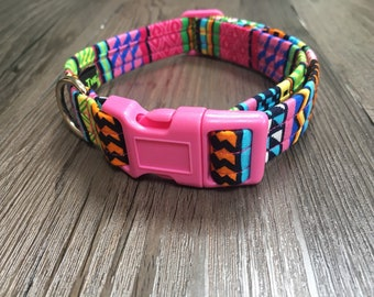 Pink Aztec Dog Collar, pink clip, matching lead available