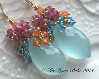 Aqua Chalcedony Cluster Earrings Boho Luxe Earrings