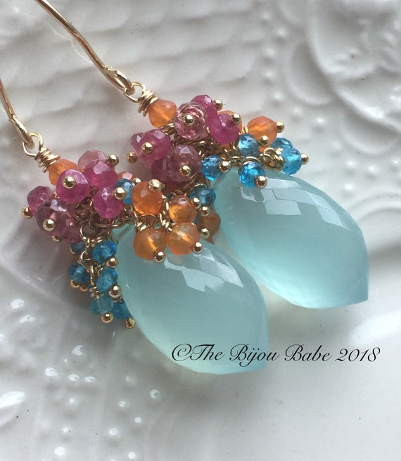 Aqua Chalcedony Cluster Earrings Boho Luxe Earrings