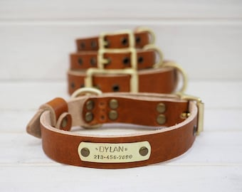 Art Of The Pet Leather Dog Collar, Dog Collar Leather, Free id tag , Brown Leather Collar, Dog Collar Personalized,
