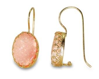 Blush Pink Druzy  Earrings, Bridesmaides Gift, Pink Wedding Jewelry, Oval Druzy Drop Earrings, Gold Earrings, Dangle Gemstones Earrings.