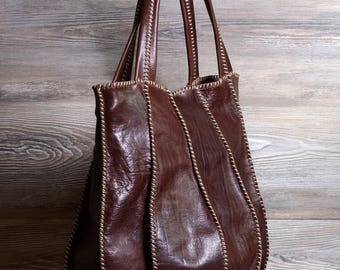 Genuine Italian leather bag, hand-stitched bag in genuine Italian leather, handmade with extreme care-Made in Italy