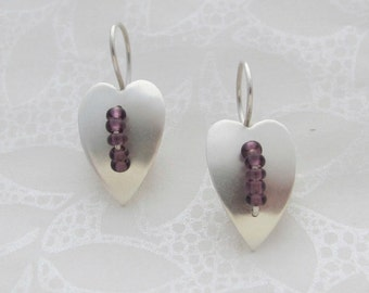 Silver Heart Leaf and purple glass bead earrings