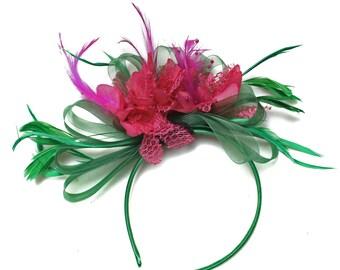 Emerald Green & Fuchsia Hot Pink Fascinator on Headband