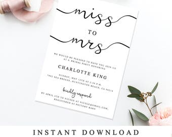 Print At Home Bridal Shower Invitation Template, DIY Wedding Shower Invite,  Instantly Printable Editable Invite, The One INSTANT DOWNLOAD