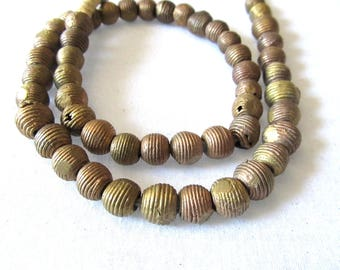 Brass Ghana Beads, Coiled Baule Bead, Akan Brass, 10mm, African Trade Bead, Cast Grooved Bead, Bronze Ashanti Bead, 15 Pcs