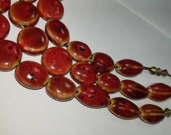 vintage enameled cerramic beads on choker necklace  by pebblecreek