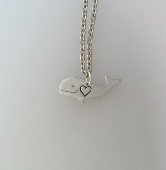 New-Mini Happy Heart Whale Necklace-Vegan Jewelry-Vegan Necklace-Whale Jewelry-Save the Whales-Set them Free Whale necklace-Eco Friendly