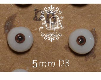 Hand Made Glass Like Eyes 5mm - Dark Brown - for OOAK Art Dolls DB-5mm